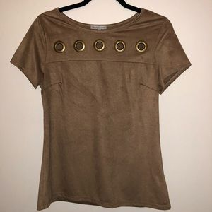 Soft Brown Suede Top with Cutouts